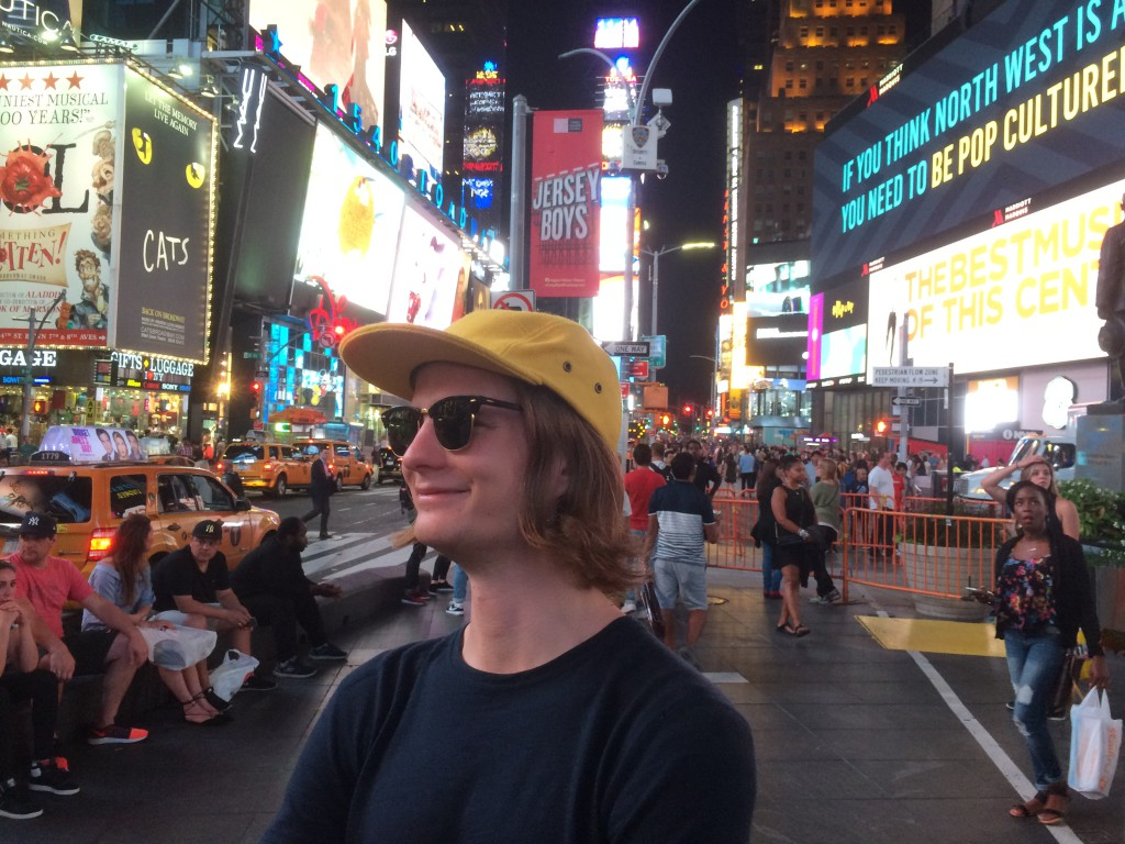 Rocking Costo hats at Time Square