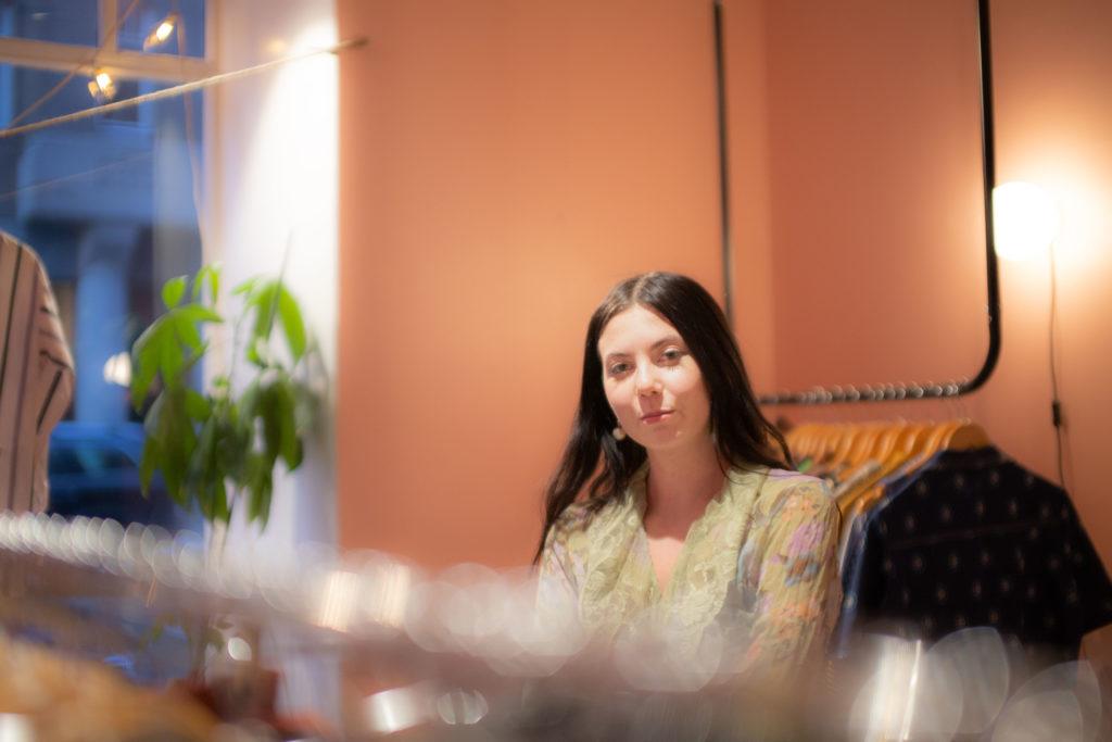 Sara in her shop
