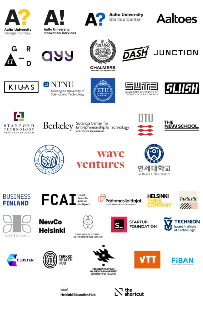 Logos of AVP collaborators: Aalto University Design Factory, Aalto Innovation Services, Aalto Startup Center, Aaltoes, A Grid, Ayy, Chalmers, Dash, Junction, Kiuas, NTNU, KTH, SUTD, Slush, Stanford Technology Ventures Program, SCET Berkeley, DTY, The New School, Tongji University, Wave Wentures, Yonsei University, Business Finlansd, FCAI, Pääomasijoittajat, Helsinki Think Company, Inklusiiv, Kaute-säätiö, NewCo Helsinki, Stockholm School of Entrepreneurship, Startup Foundation, Technion, Cluster, Terkko Health Club, University of Helsinki, VTT, FiBan, Helsinki Education Hub, The Shortcut